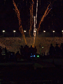 Celebration fireworks on the superstretch on the cool down lap