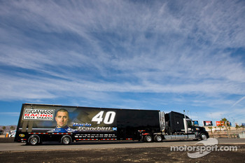 The Ganassi team hauler makes its' way into the Las Vegas Motor Speedway