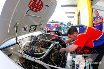 David Ragan's AAA Ford is prepped for practice for the UAW-400 at Las Vegas Motor Speedway