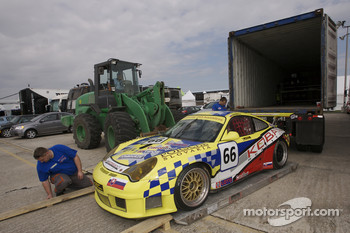 Autoracing Club Bratislava Porsche 911 GT3 RS is unloaded from the shipping container