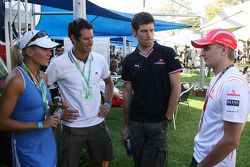 Mark Webber, Red Bull Racing and Heikki Kovalainen, McLaren Mercedes with VIP's