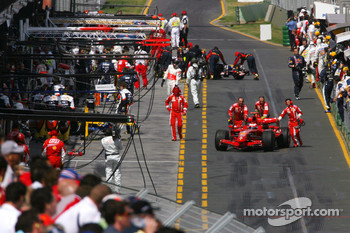 Kimi Raikkonen, Scuderia Ferrari is pushed by his team in the pitlane