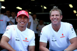 Shane Warne, Former Australian International Cricket player, Lewis Hamilton, McLaren Mercedes
