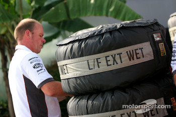 Wet tire covers; Force India F1 Team