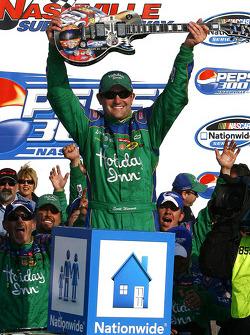 Victory lane: race winner Scott Wimmer celebrates