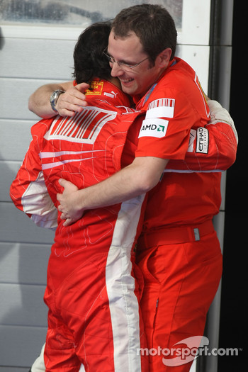 Podium: race winner Felipe Massa celebrates with Stefano Domenicali