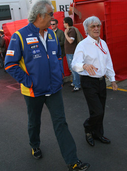 Flavio Briatore, Renault F1 Team, Team Chief, Managing Director and Bernie Ecclestone, President and CEO of Formula One Management