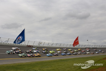 Dale Earnhardt Jr. leads the field thru turn four