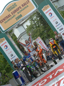 Podium: bike winner David Casteu, second place Francisco Lopez, third place Alain Duclos