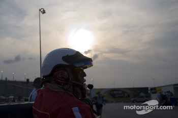 The sun goes down during the last and final practice for the day
