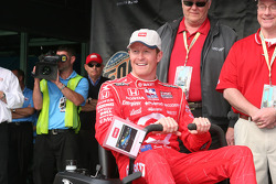 Scott Dixon receives a new mower for being the pole winner
