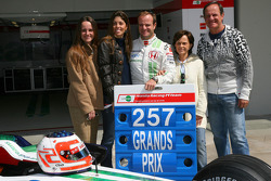 Rubens Barrichello, Honda Racing F1 Team, celebrating 257 Grand Prix with Silvana Barrichello, Wife of Rubens Barrichello and his mother, father and sister
