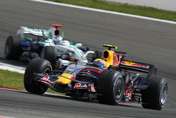 Mark Webber, Red Bull Racing, RB4 leads Jenson Button, Honda Racing F1 Team, RA108
