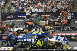 The NASCAR Sprint Pit Crew Challenge at the Time Warner Cable Arena in Charlotte: the Bass Pro Shops crew competes against the Lowe's Chevrolet team