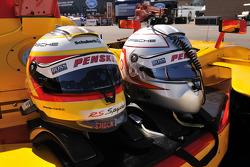 Helmets belonging to Timo Bernhard and Romain Dumas
