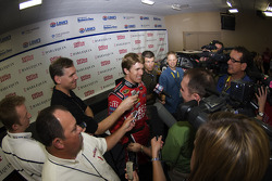Carl Edwards with Office Depot and Harlequin introduces the winners of the Harlequin and Office Depot