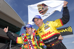 Romain Dumas and Timo Bernhard celebrate