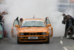 A drift challenge BMW performs a major burnout