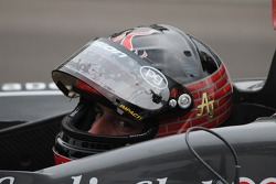 A.J. Foyt IV with his new helmet