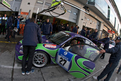 Pit stop for #27 Manthey Racing Porsche 911 GT3 Cup: Gary Williams, Daniel Cooke, Julian Perry