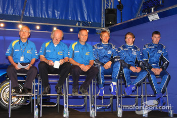 Ichiro Kudoh, Manufacturer Principal, David Richards, Team Principal, David Lapworth, Technical Director, Petter Solberg, Chris Atkinson, Markko Martin