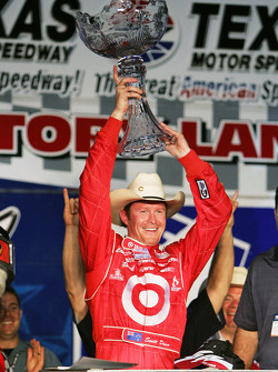 Victory lane: winner Scott Dixon celebrates