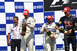 Podium: Robert Kubica, Nick Heidfeld, David Coulthard and Dr. Mario Theissen