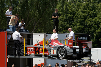 #1 Audi Sport North America Audi R10 arrives at scrutineering