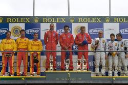 LM GT2 podium: class winners Mika Salo, Jaime Melo, Gianmaria Bruni, second place Fabio Babini, Paolo Ruberti, Matteo Malucelli, third place Lars-Erik Nielsen, Pierre Ehret, Pierre Kaffer