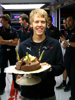 Sebastian Vettel, Scuderia Toro Rosso, celebrates his 21st birthday
