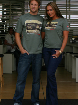 Jenson Button, Honda Racing F1 Team and Tamara Ecclestone, Daughter of Bernie Eccelestone wearing a limited Edition t-shirt by Alpinestars to commemorate the 60th Anniversary of Silverstone Circuit