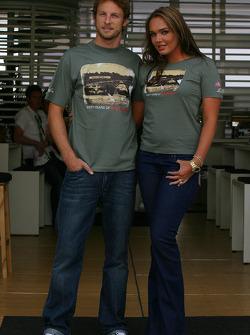 Jenson Button, Honda Racing F1 Team and Tamara Ecclestone, Daughter of Bernie Eccelestone wearing a limited Edition t-shirt by Alpinestars to commemorate the 60th Anniversary of Silverstone Circuit