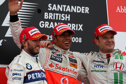 Podium: race winner Lewis Hamilton with second place Nick Heidfeld and third place Rubens Barrichello