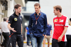 (L to R): Romain Grosjean, Lotus F1 Team with Alex Wurz, Williams Driver Mentor / GPDA Chairman and Sebastian Vettel, Ferrari