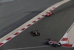 Esteban Ocon, ART Grand Prix leads Luca Ghiotto, Trident and Emil Bernstorff, Arden International