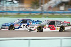 Ty Dillon, Richard Childress Racing Chevrolet and Kyle Larson, Hscott Motorsports Chevrolet