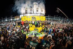 Victory lane: race winner and 2015 NASCAR Sprint Cup series champion Kyle Busch, Joe Gibbs Racing Toyota celebrates