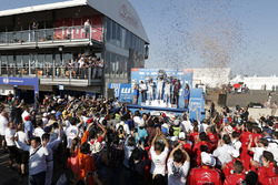 Podium: winner Yvan Muller, Citroën C-Elysee WTCC, Citroën World Touring Car team, second place Sébastien Loeb, Citroën C-Elysee WTCC, Citroën World Touring Car team, third place Jose Maria Lopez, Citroën C-Elysee WTCC, Citroën World Touring Car team and Tom Chilton, Chevrolet RML Cruze TC1, ROAL Motorsport