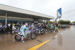 The bikes convoy stops at a petrol station