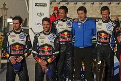 Podium: winners Sébastien Ogier, Julien Ingrassia, Volkswagen Motorsport, second place Andreas Mikkelsen, Anders Jäger, Volkswagen Motorsport and Francois-Xavier Demaison