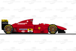 The Ferrari T412TB1 driven by Michael Schumacher during testing