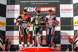 Podium race1: second place Chaz Davies, Aruba.it Racing - Ducati Team, first place Jonathan Rea, Kawasaki Racing Team, third place MIchael Van der Mark, Honda WSBK Team
