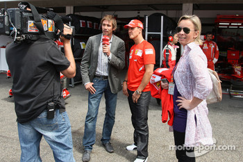 Michael Schumacher, Test Driver, Scuderia Ferrari does some work for TV