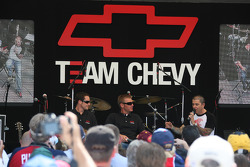 Casey Mears and Clint Bowyer on stage at Chevy fan fest