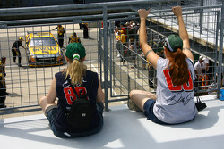 Fans look on as Matt Kenseth heads back to garage