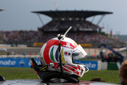 Helmet of Tom Kristensen, Audi Sport Team Abt, Audi A4 DTM In the background the Mercedes Benz grandstand
