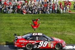 Winner Carl Edwards does a flip
