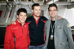 Mike Rockenfeller, Martin Tomczyk, Lucas Luhr at the Audi Sport hospitality