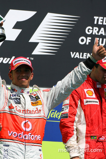 Podium: second place Lewis Hamilton