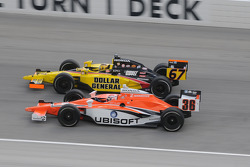 Alex Tagliani and Sarah Fisher run together
